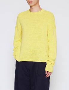 YELLOW MODERN RIBBON KNIT SWEATER