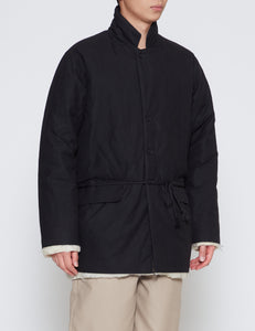 BLACK WAXED COTTON PADDED SQUARE JACKET