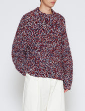 Load image into Gallery viewer, RED MELANGE COLOR LOW GAUGE HAND KNIT SWEATER