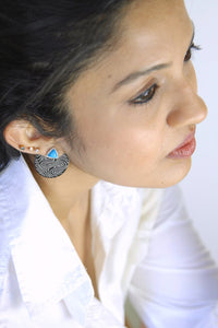Detachable round ear jacket Bidri earrings - Craft Stories Handmade, contemporary, personal and home accessories. Designed in California. Handcrafted in India. Traditional craftsmanship meets modern aesthetics. Sustainable design ethos, fair trade, conscious, artisanal jewelry and home decor. Objects with a story. Unique and on-trend.