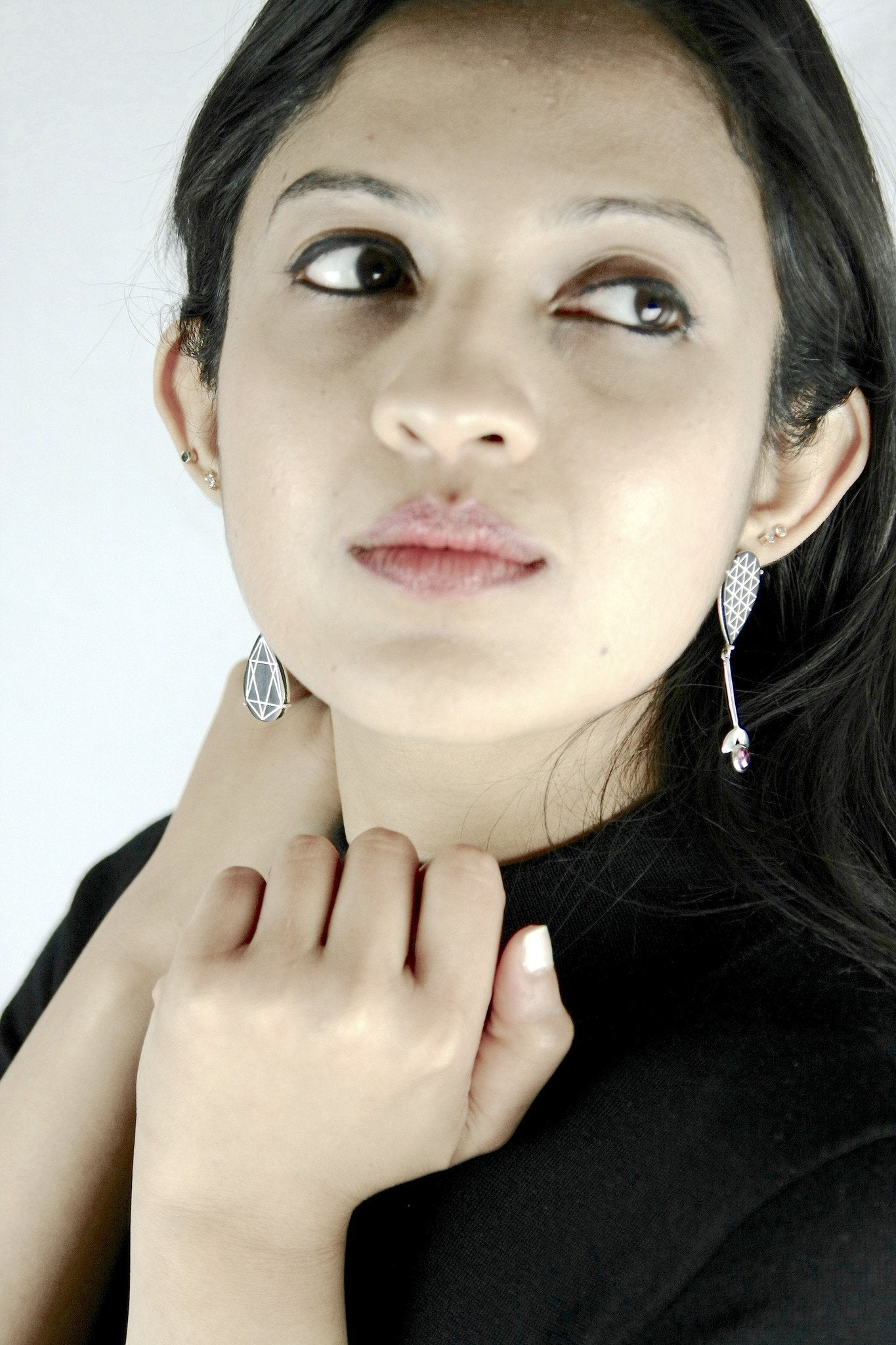 Exquisite asymmetrical long Bidri earrings - Craft Stories