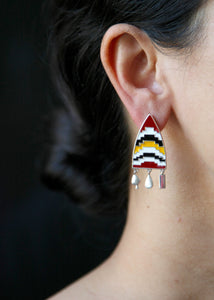 Amare shield earrings with enamel work and fringe - Craft Stories Handmade, contemporary, personal and home accessories. Designed in California. Handcrafted in India. Traditional craftsmanship meets modern aesthetics. Sustainable design ethos, fair trade, conscious, artisanal jewelry and home decor. Objects with a story. Unique and on-trend.