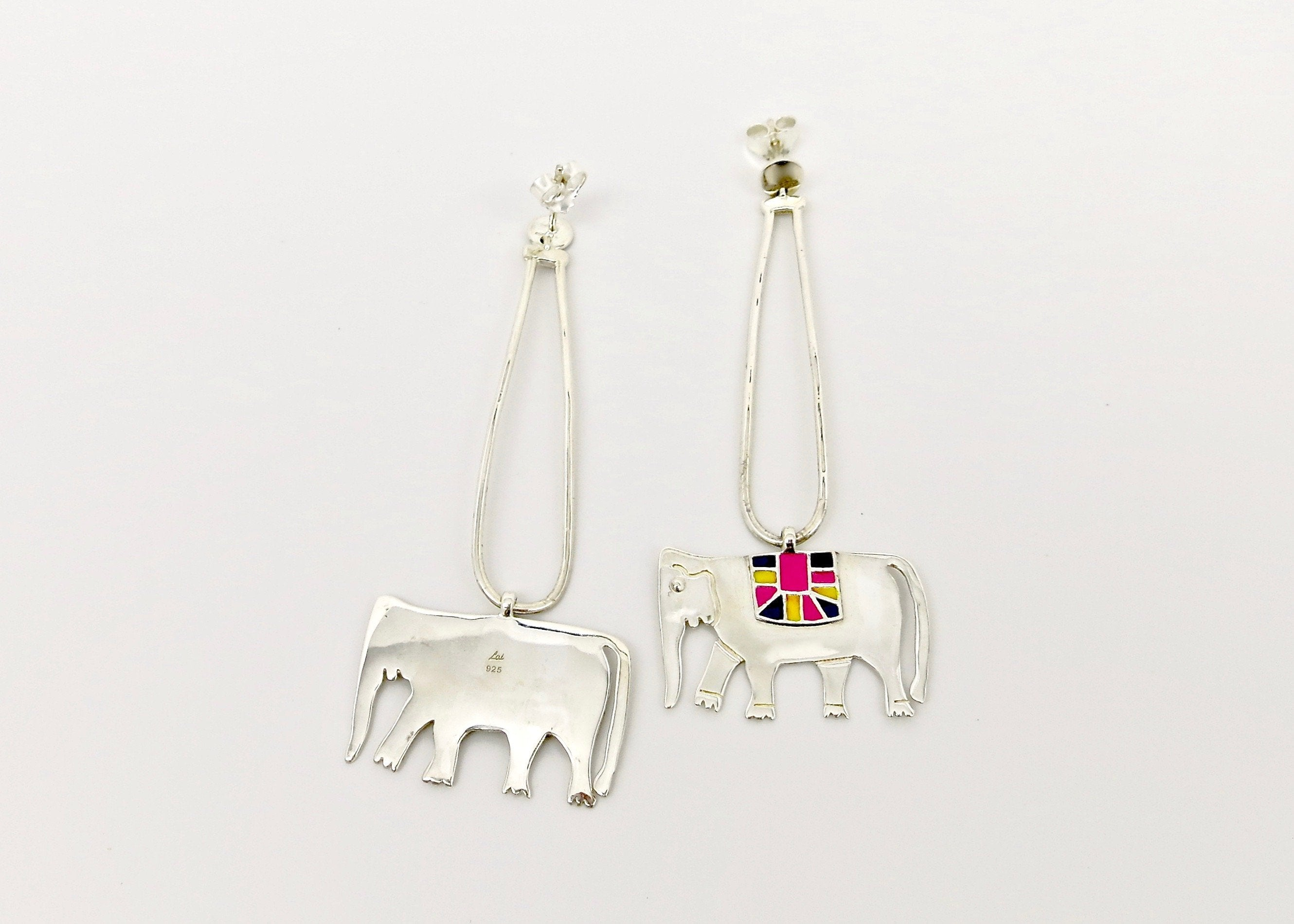Whimsical, long dangling 'Gaja' (elephant) earrings - Craft Stories Handmade, contemporary, personal and home accessories. Designed in California. Handcrafted in India. Traditional craftsmanship meets modern aesthetics. Sustainable design ethos, fair trade, conscious, artisanal jewelry and home decor. Objects with a story. Unique and on-trend.