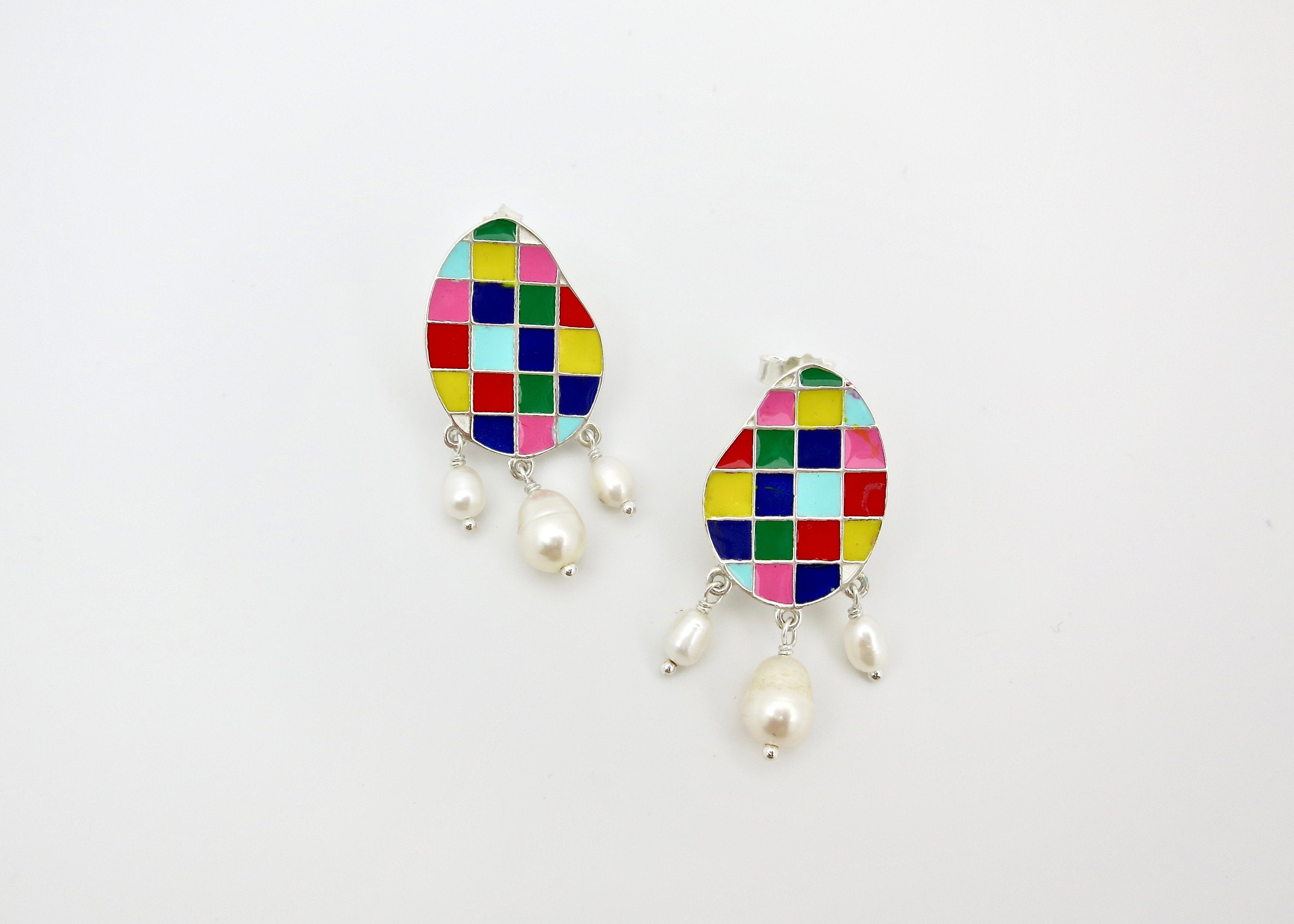 Stunning, colour grid, pearl drop 'varnin' earrings - Craft Stories Handmade, contemporary, personal and home accessories. Designed in California. Handcrafted in India. Traditional craftsmanship meets modern aesthetics. Sustainable design ethos, fair trade, conscious, artisanal jewelry and home decor. Objects with a story. Unique and on-trend.