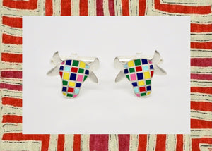 Whimsical and uber cool 'dhenu' (cow) cufflinks - Craft Stories Handmade, contemporary, personal and home accessories. Designed in California. Handcrafted in India. Traditional craftsmanship meets modern aesthetics. Sustainable design ethos, fair trade, conscious, artisanal jewelry and home decor. Objects with a story. Unique and on-trend.