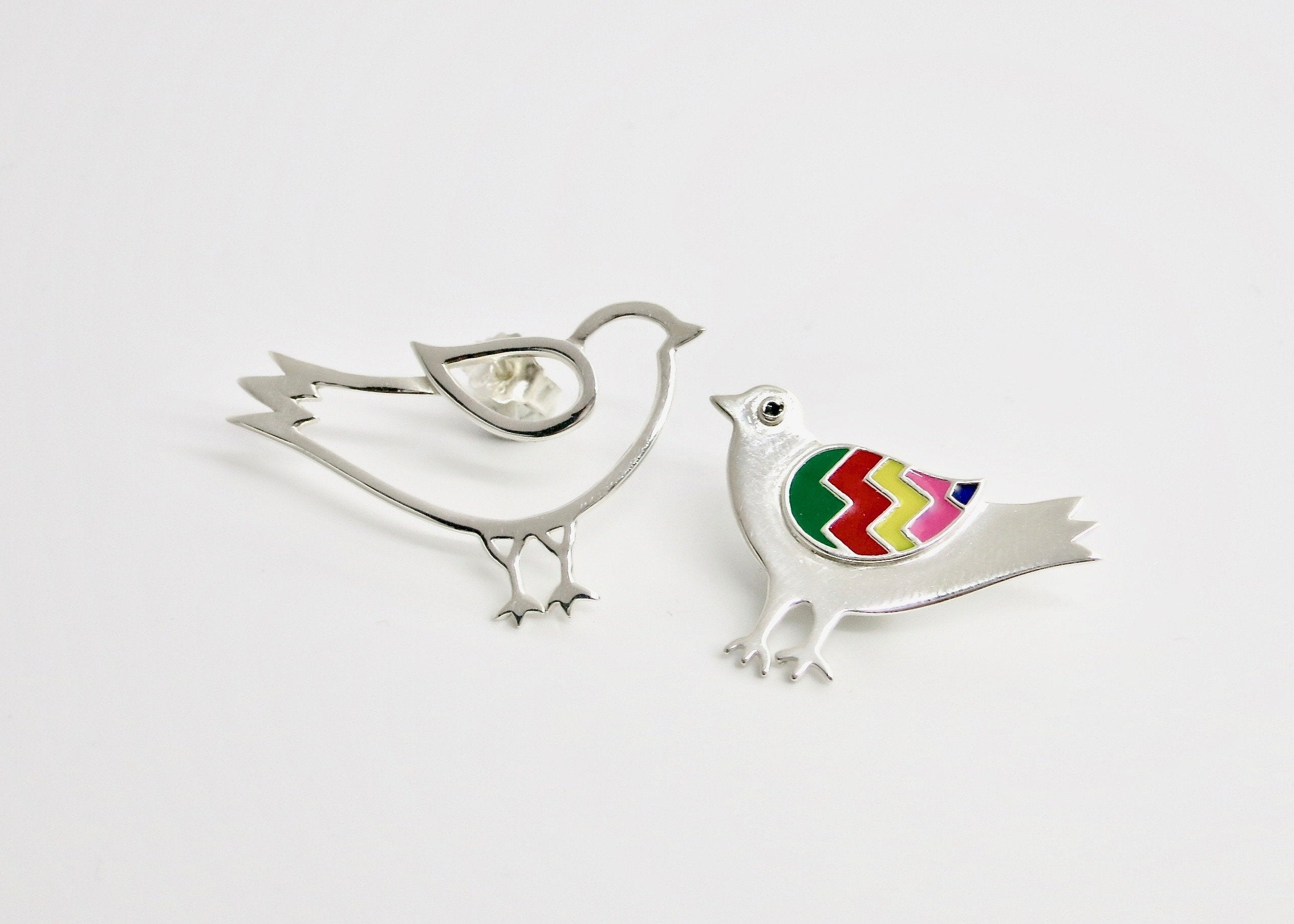 Whimsical, asymmetrical 'paksi' (bird) earrings - Craft Stories Handmade, contemporary, personal and home accessories. Designed in California. Handcrafted in India. Traditional craftsmanship meets modern aesthetics. Sustainable design ethos, fair trade, conscious, artisanal jewelry and home decor. Objects with a story. Unique and on-trend.