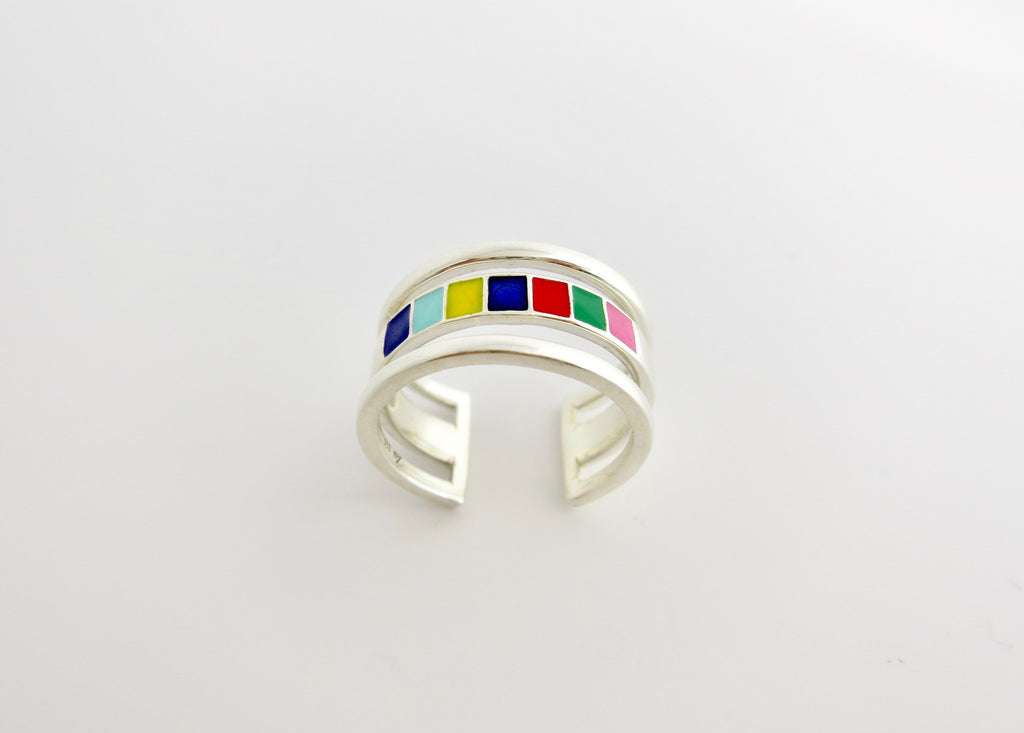 Won't-take-it-off, 'indradhanush' (rainbow) band ring - Craft Stories Handmade, contemporary, personal and home accessories. Designed in California. Handcrafted in India. Traditional craftsmanship meets modern aesthetics. Sustainable design ethos, fair trade, conscious, artisanal jewelry and home decor. Objects with a story. Unique and on-trend.