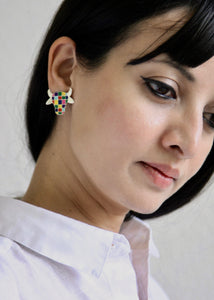 Whimsical and uber cool 'dhenu' (cow) ear studs - Craft Stories Handmade, contemporary, personal and home accessories. Designed in California. Handcrafted in India. Traditional craftsmanship meets modern aesthetics. Sustainable design ethos, fair trade, conscious, artisanal jewelry and home decor. Objects with a story. Unique and on-trend.