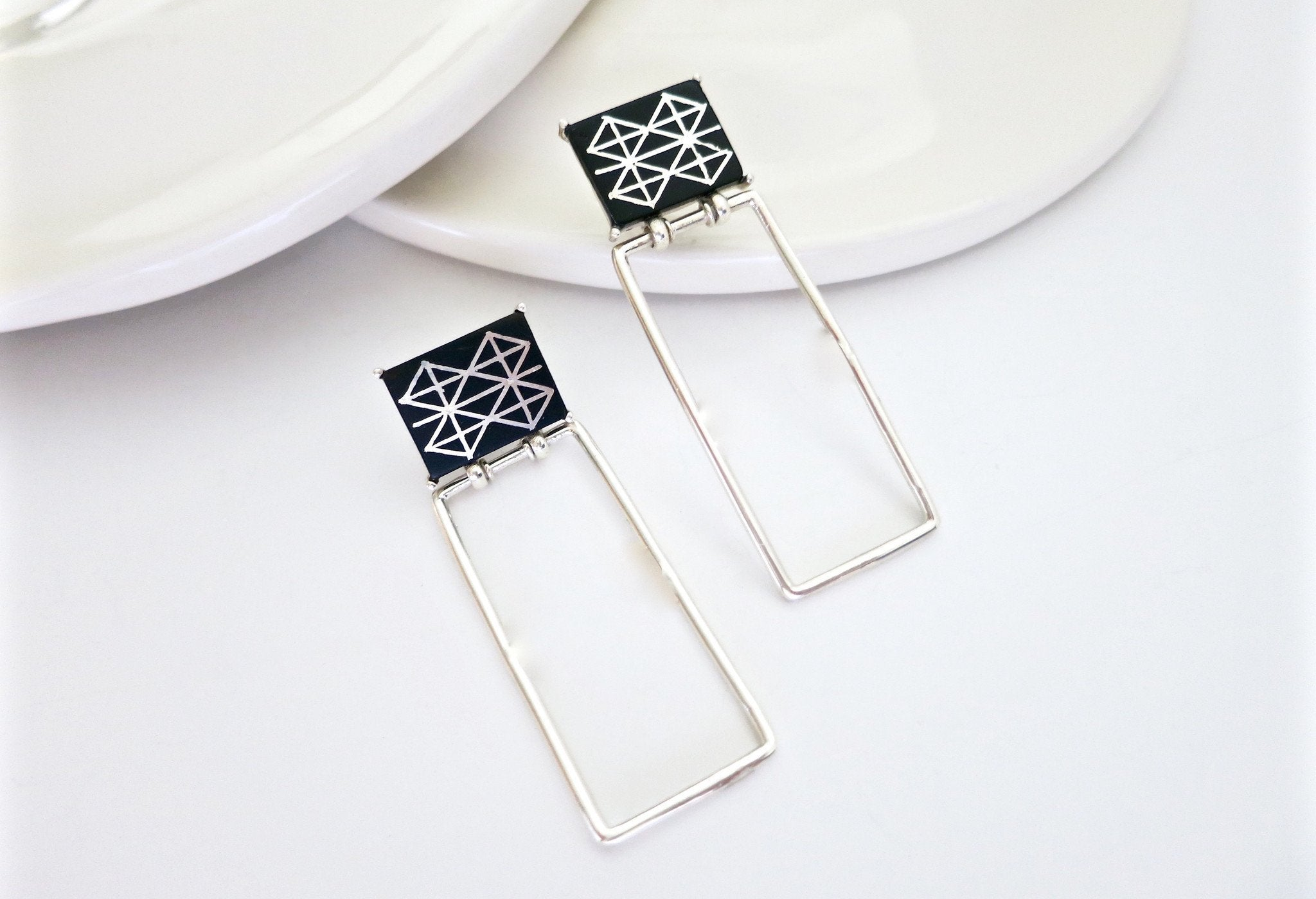 Minimalist long rectangular Bidri earrings - Craft Stories