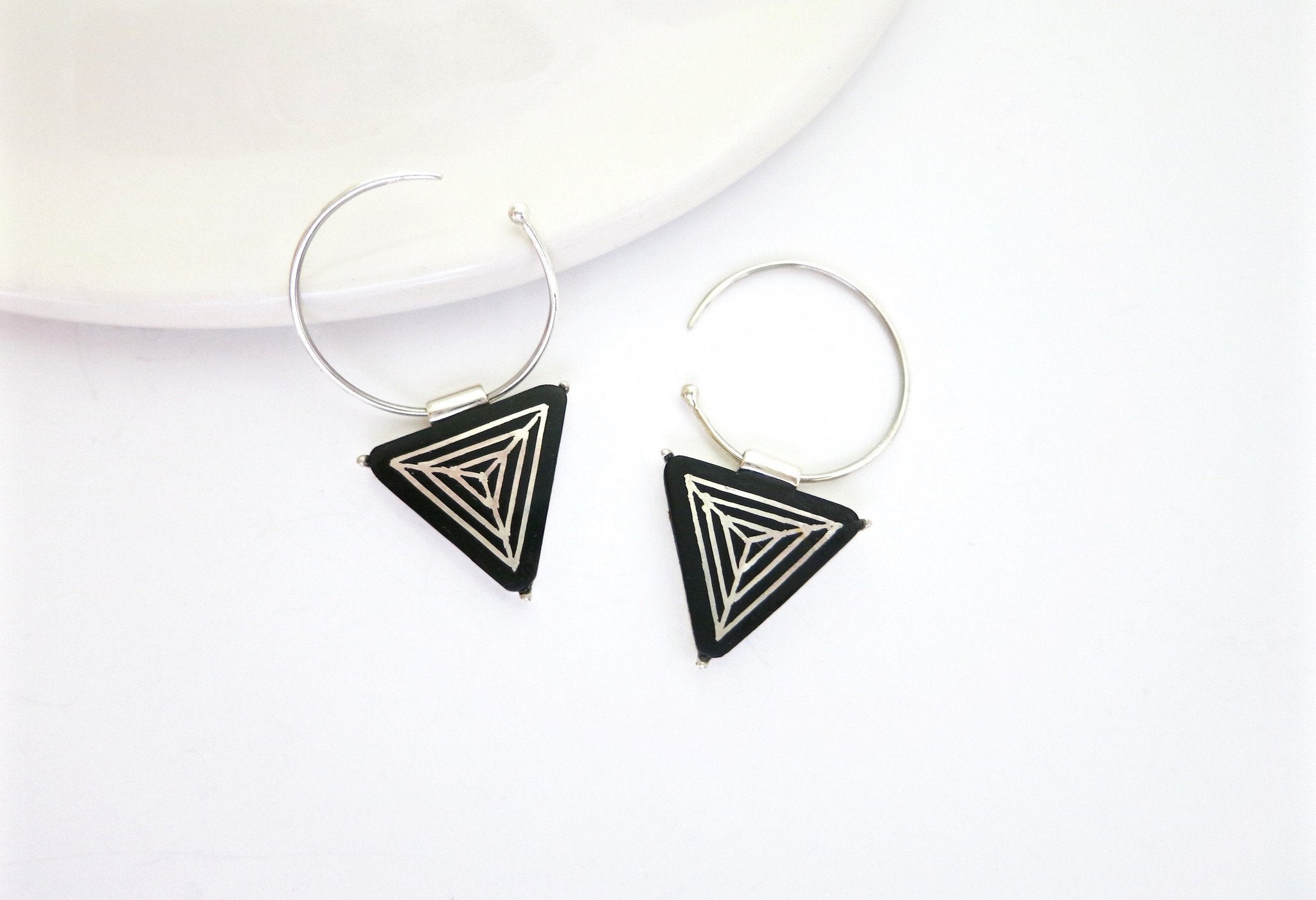 Chic triangular Bidri small open hoops - Craft Stories Handmade, contemporary, personal and home accessories. Designed in California. Handcrafted in India. Traditional craftsmanship meets modern aesthetics. Sustainable design ethos, fair trade, conscious, artisanal jewelry and home decor. Objects with a story. Unique and on-trend.