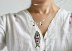 'Indian folk art' charm necklace - Craft Stories Handmade, contemporary, personal and home accessories. Designed in California. Handcrafted in India. Traditional craftsmanship meets modern aesthetics. Sustainable design ethos, fair trade, conscious, artisanal jewelry and home decor. Objects with a story. Unique and on-trend.