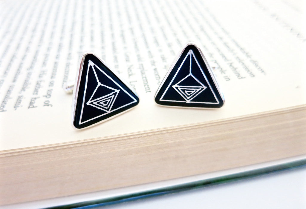 Classic triangular Bidri cufflinks - Craft Stories Handmade, contemporary, personal and home accessories. Designed in California. Handcrafted in India. Traditional craftsmanship meets modern aesthetics. Sustainable design ethos, fair trade, conscious, artisanal jewelry and home decor. Objects with a story. Unique and on-trend.
