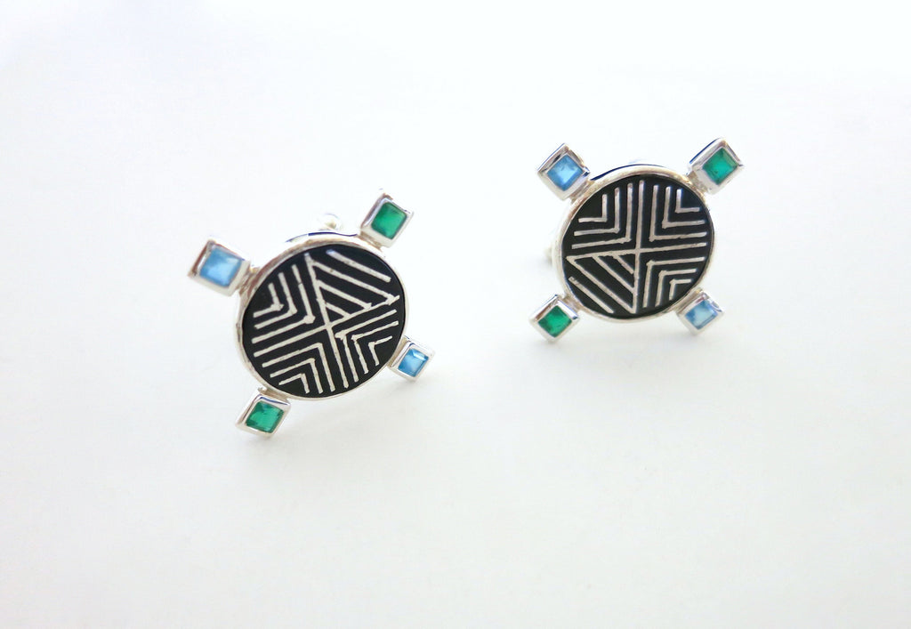 Classy round Bidri cufflinks with faceted square stones - Craft Stories Handmade, contemporary, personal and home accessories. Designed in California. Handcrafted in India. Traditional craftsmanship meets modern aesthetics. Sustainable design ethos, fair trade, conscious, artisanal jewelry and home decor. Objects with a story. Unique and on-trend.