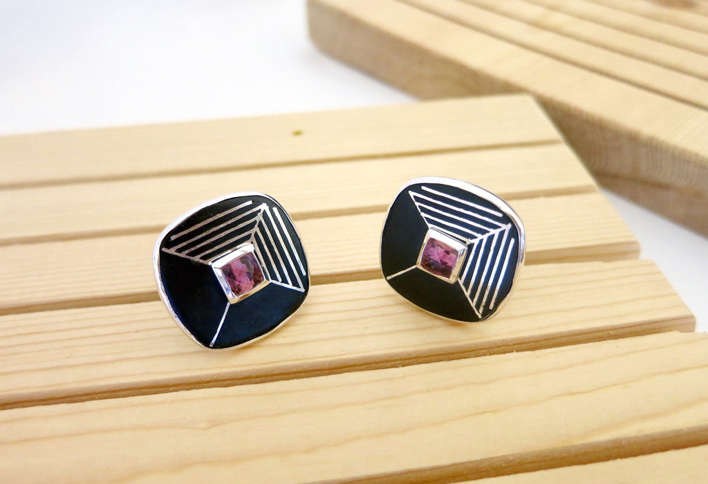 Statement square Bidri cufflinks with faceted stone center - Craft Stories Handmade, contemporary, personal and home accessories. Designed in California. Handcrafted in India. Traditional craftsmanship meets modern aesthetics. Sustainable design ethos, fair trade, conscious, artisanal jewelry and home decor. Objects with a story. Unique and on-trend.