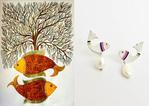 Elegant, pearl drop 'meen' fish earrings - Craft Stories Handmade, contemporary, personal and home accessories. Designed in California. Handcrafted in India. Traditional craftsmanship meets modern aesthetics. Sustainable design ethos, fair trade, conscious, artisanal jewelry and home decor. Objects with a story. Unique and on-trend.
