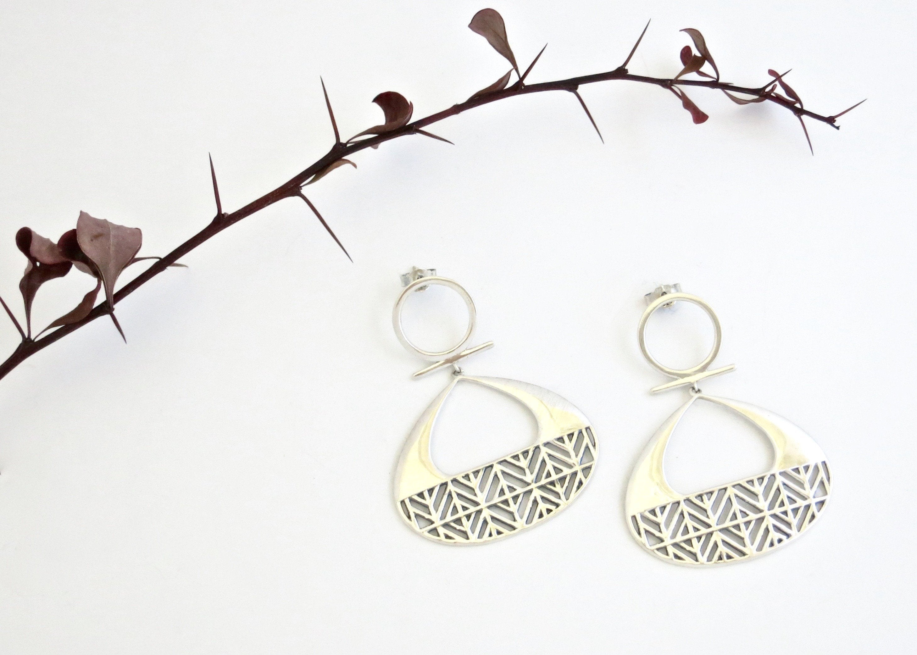 Urian dramatic lattice work earrings - Craft Stories Handmade, contemporary, personal and home accessories. Designed in California. Handcrafted in India. Traditional craftsmanship meets modern aesthetics. Sustainable design ethos, fair trade, conscious, artisanal jewelry and home decor. Objects with a story. Unique and on-trend.