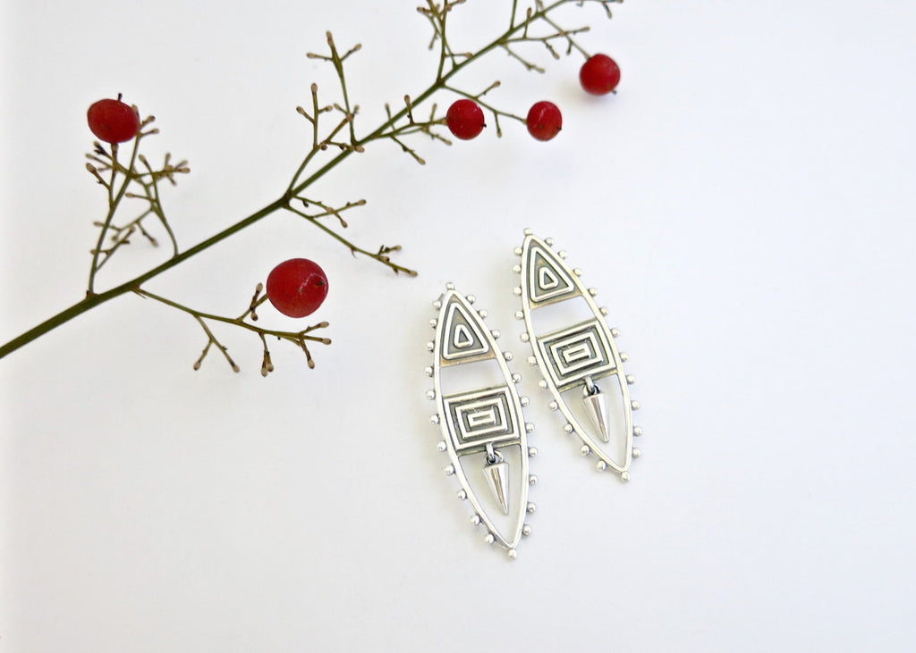 Urian neo-tribal navette earrings - Craft Stories Handmade, contemporary, personal and home accessories. Designed in California. Handcrafted in India. Traditional craftsmanship meets modern aesthetics. Sustainable design ethos, fair trade, conscious, artisanal jewelry and home decor. Objects with a story. Unique and on-trend.