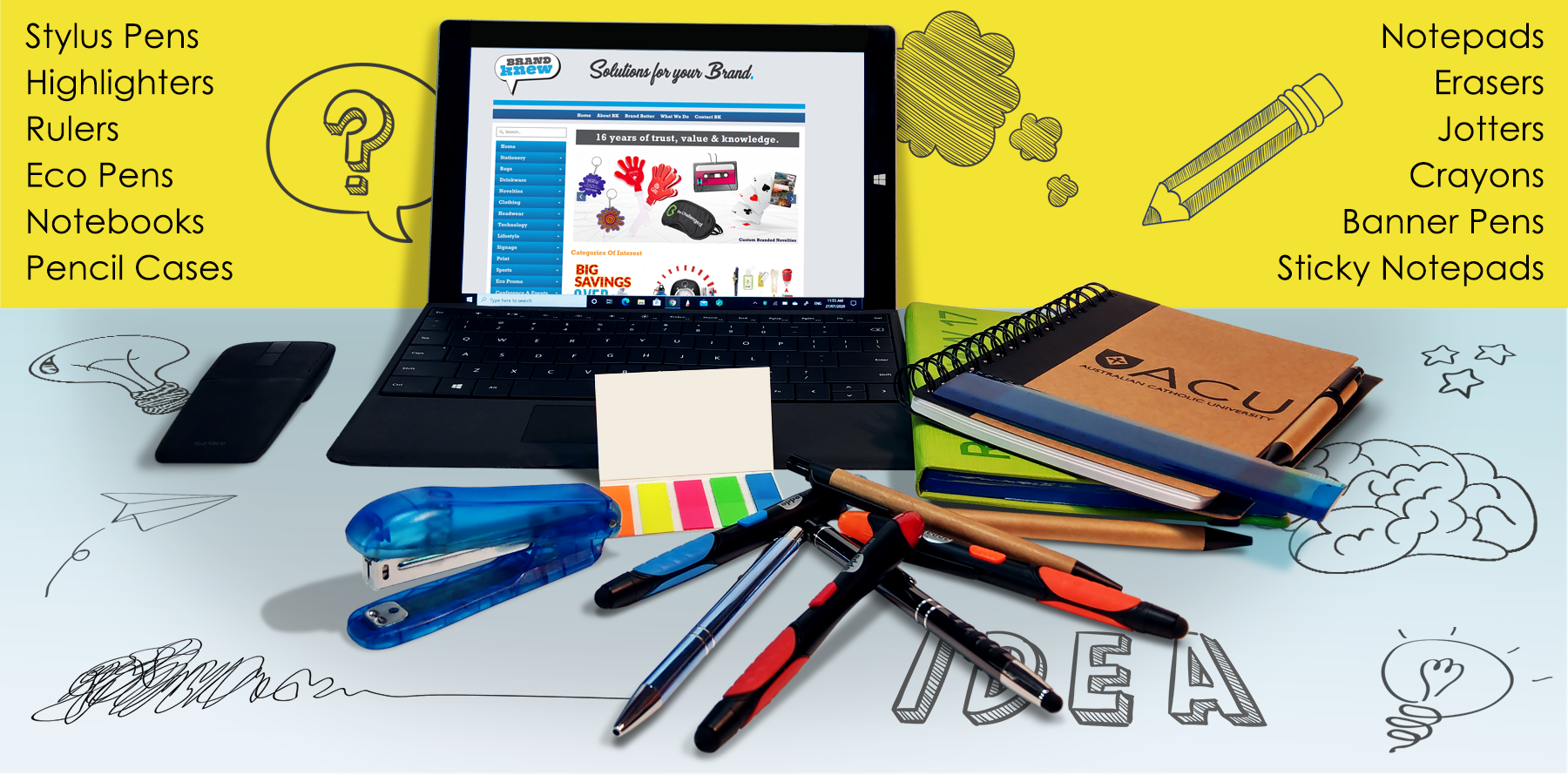 Turn ordinary office stationery into your very own brand ambassadors. Brand Knew has all your office and stationery needs covered. Brand Knew will custom prints your business logo or message at the best possible price.