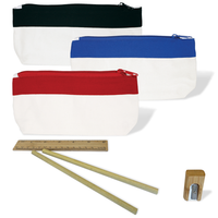 Canvas Pencil Case With Bamboo Stationery Set
