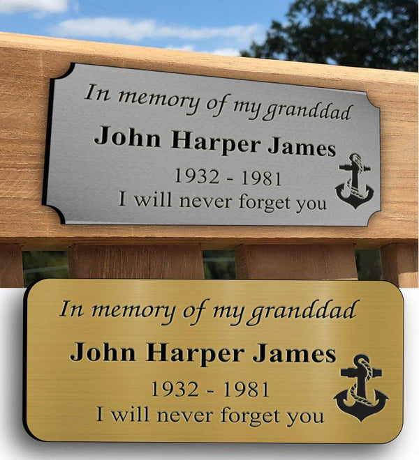 Acrylic Plastic Laminate Bench Memorial Plaques - The Engraving Store