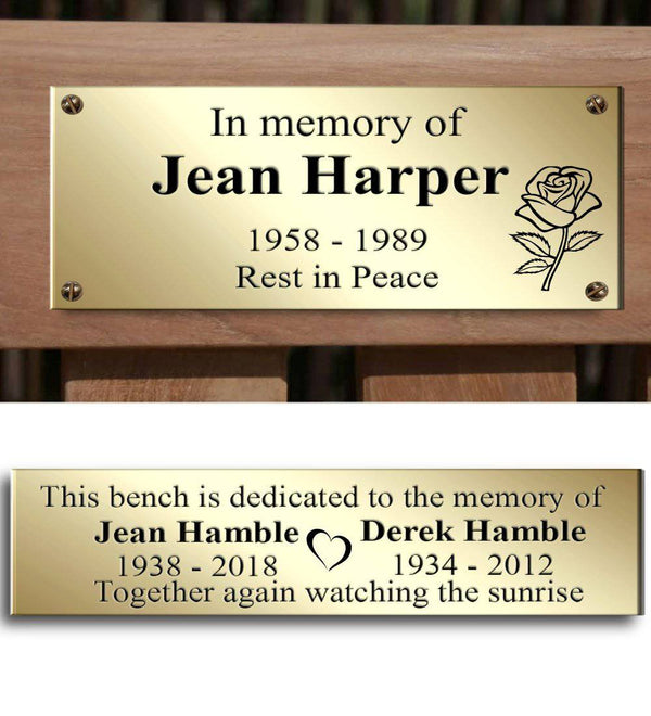 Memorial Plaque for Bench, Custom Engraved in Brass - The Engraving Store