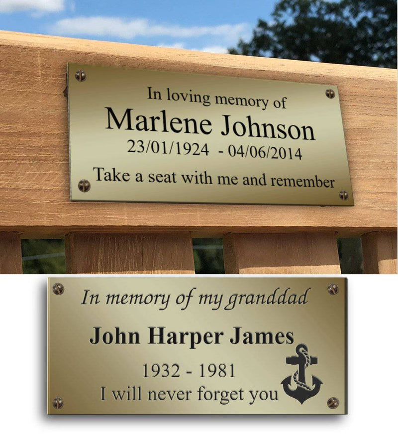Lacquered Memorial Bench Plaque - The Engraving Store