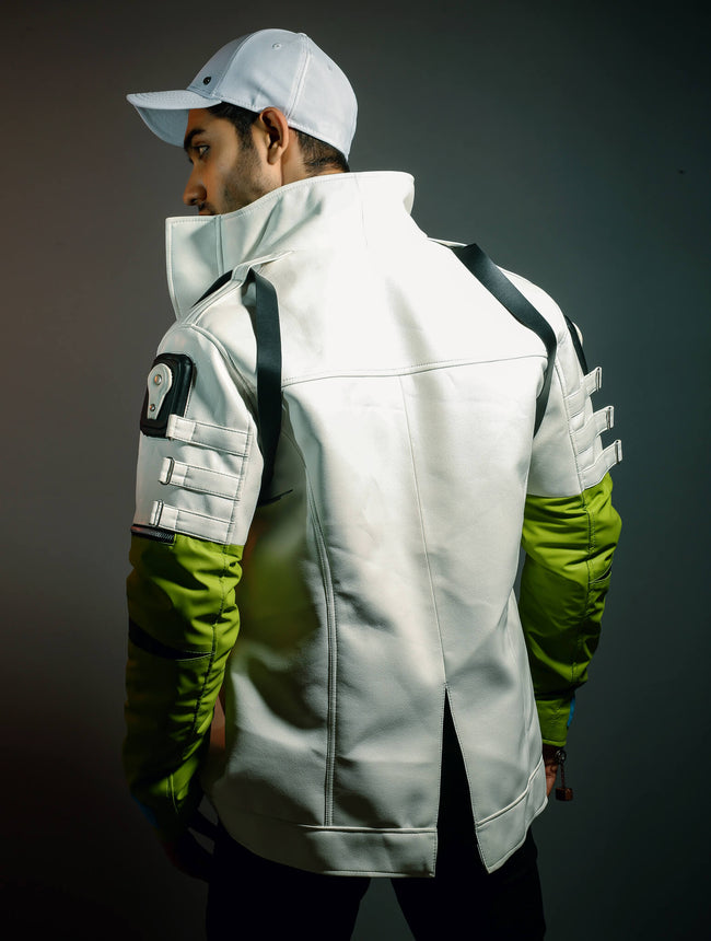 Mens White and Green Apex Leather Jacket