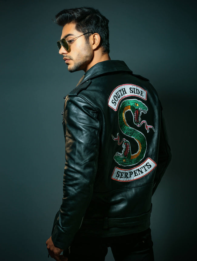 Motorcycle Leather Jacket with Serpent Patch