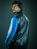 Mens Logan Blue and Black Leather Jacket