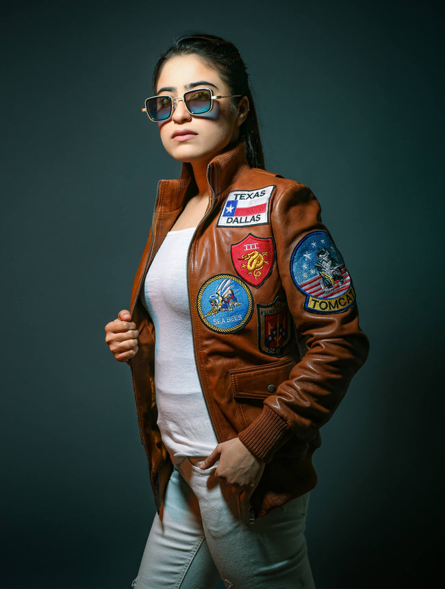 Women Top Gun Brown Jacket