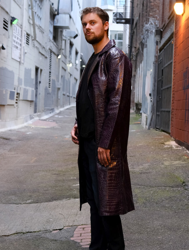 Mens Squad Joker Purple Crocodile Trench Coat