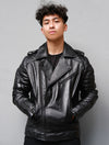 Mens Bekham Quilted Motorcycle Black Leather Jacket
