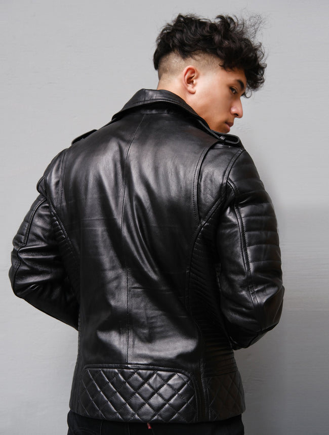 Mens Genuine Leather Biker Motorcycle Leather Jacket