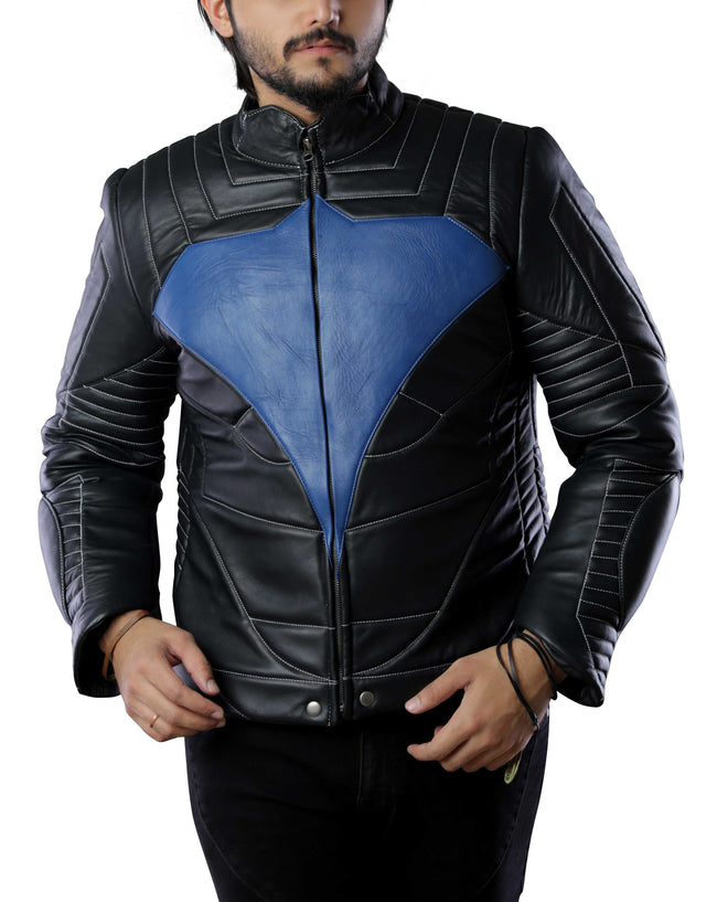 Mens Biker Night Blue Eagle Wing Leather Jacket