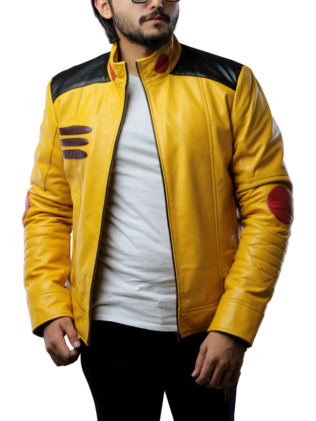 Mens Detective Pikachu Costume Yellow Leather Jacket