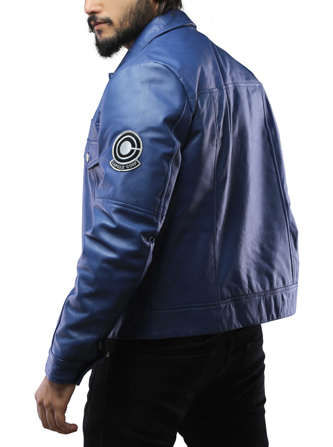 Mens Future Trunks Capsule Corp Blue Leather Jacket