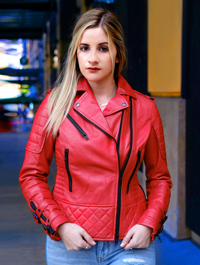 Womens Red Quilted Motorcycle Leather Jacket
