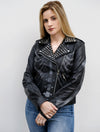 Womens Studded Skull Samara Weaving Guns Akimbo Leather Jacket