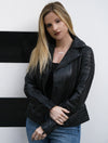 Womens Asymmetrical Black Biker Leather Jacket
