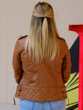 Womens Brown Leather Biker Motorcycle Slimfit Jacket