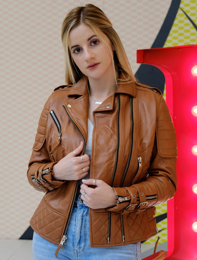 Womens Motorcycle Brown Leather Jacket