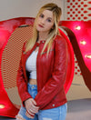 Womens Red Slim fit Motorcycle Leather Jacket