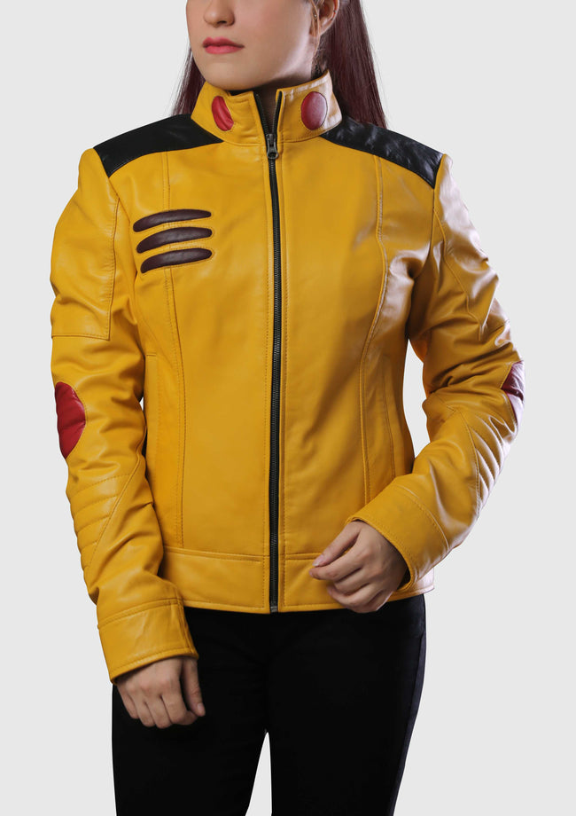 Womens Pikachu Costume Yellow Leather Jacket