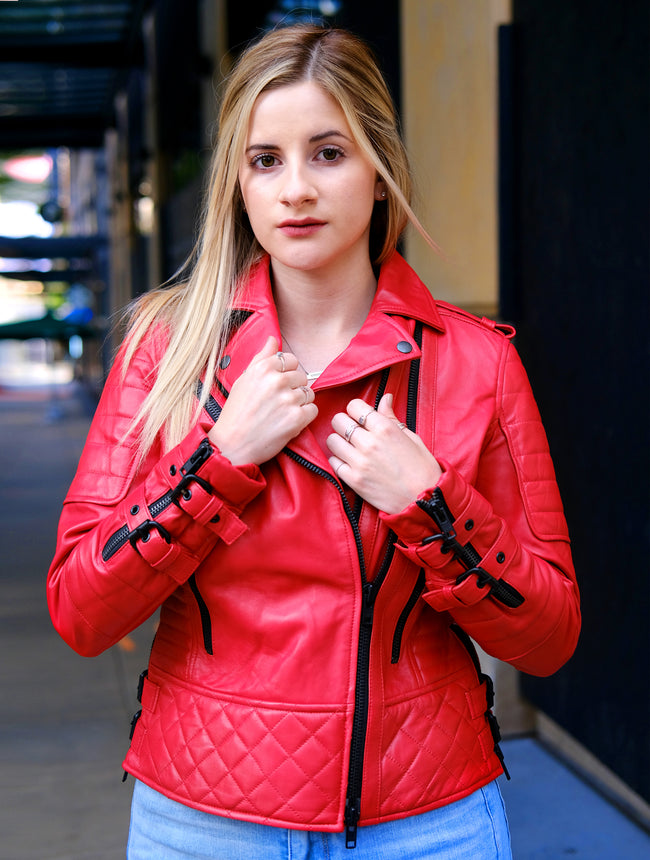 Womens Red Quilted Biker Jacket