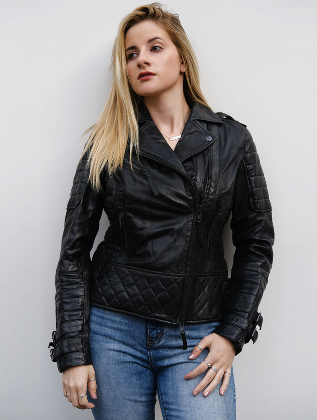 Womens Quilted Motorcycle Jacket