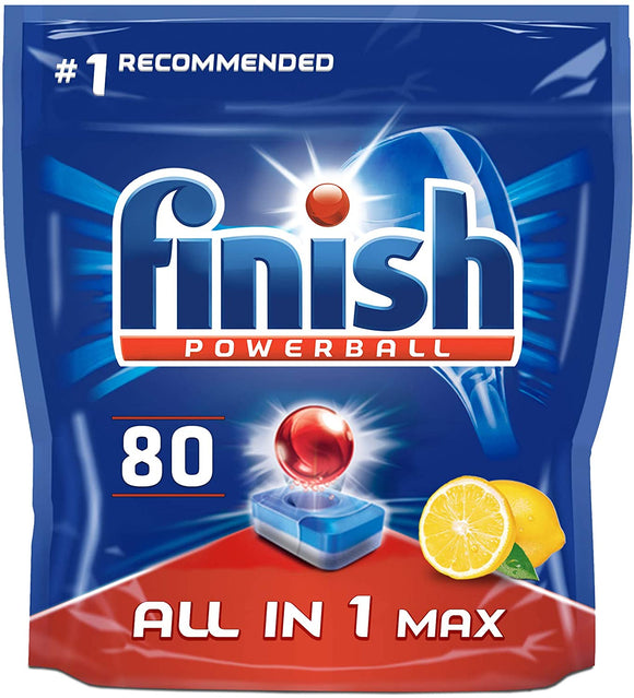 Finish All-in-One Max Dishwasher Tablets, LEMON, 80 Tablets