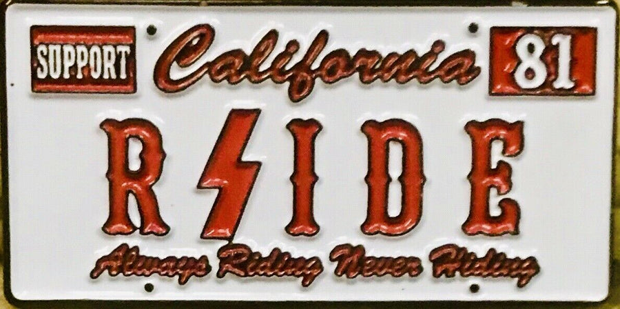"Hell's Angels RSIDE - ""California License Plate"" Pin"