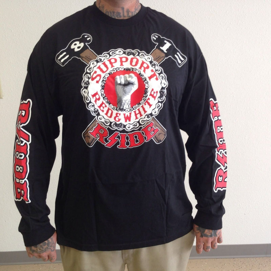 Hells Angels Rside FIST WITH HAMMER support shirt LONG SLEEVE