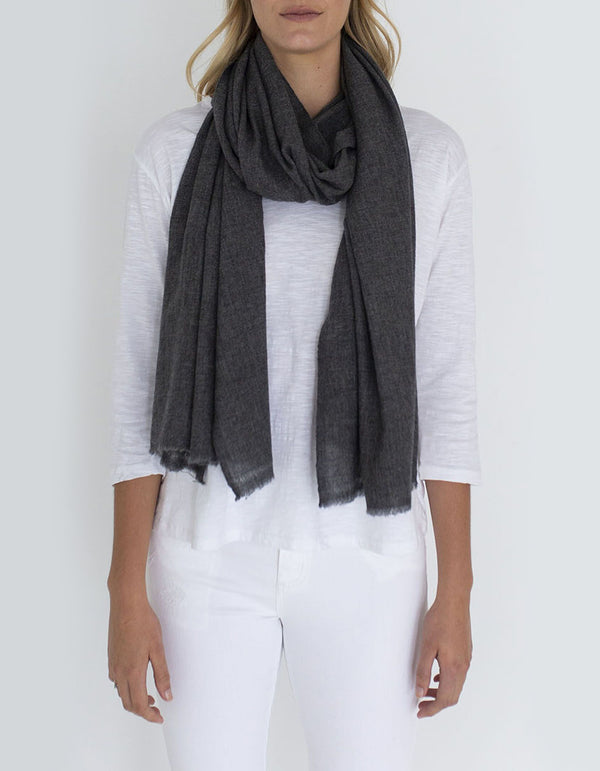 Humidity Melange Wool Mix Scarf - Grey