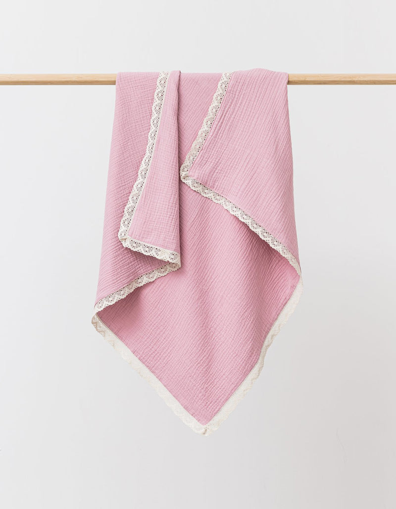 Over The Dandelions Muslin Blanket With Lace Trim